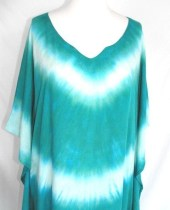 Tie Dyed  Caftan in Aquamarine and Seafoam - inspiringcolor