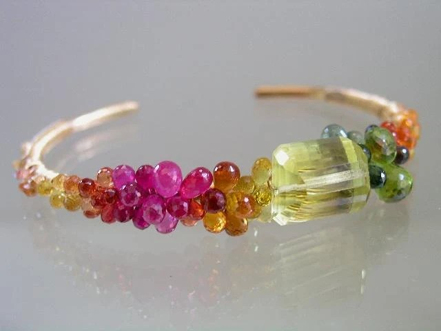 Sunbeams and Rainbows...Lemon Quartz Ruby Sapphire Encrusted Signature Original Gold Filled Cuff Bracelet - bellajewelsII