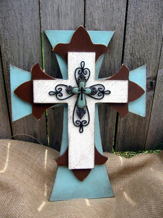 Blue and Brown Hand Painted Wooden Cross by PoshReCreations