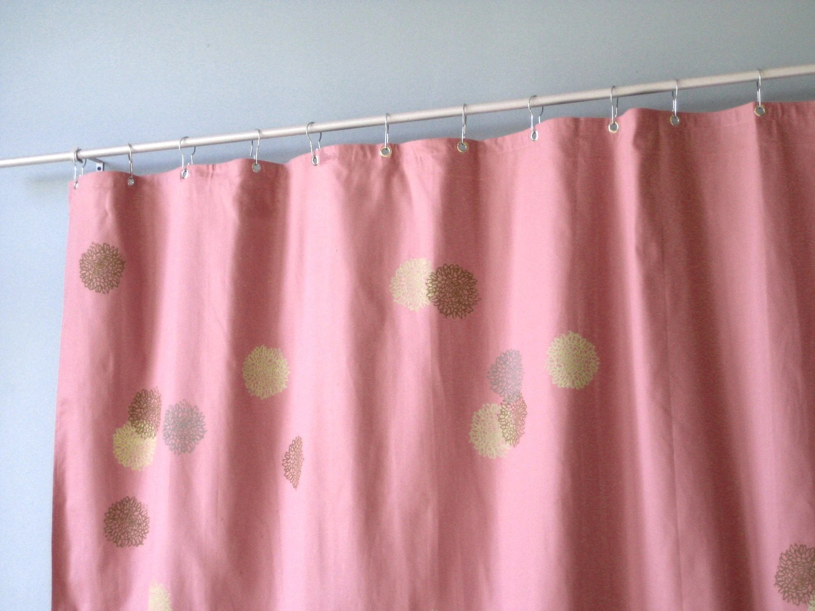 Mauve Pink Shower Curtain with Chrysanthimum Print by
