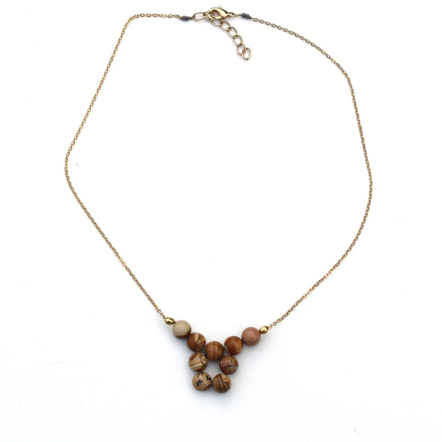 Painted Jasper short 9 stone necklace - designateddryden
