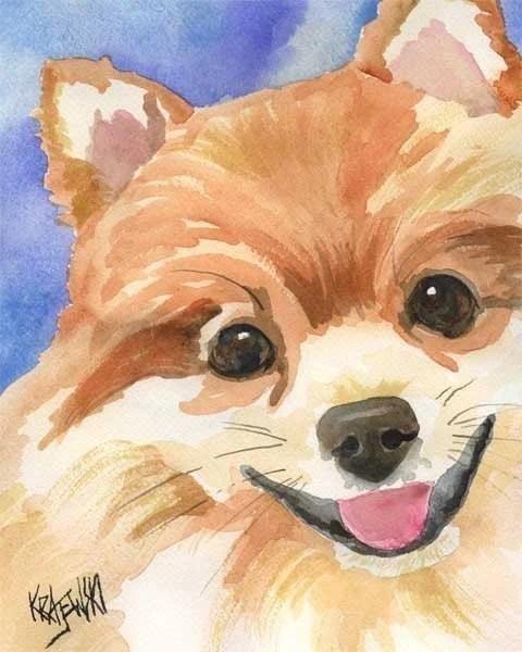 Pomeranian Art Print Of Original Watercolor Painting 11x14