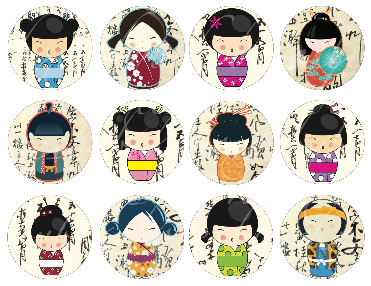 Instant Access To 24 Kokeshi Doll Circles On A By Boxesbybrkr