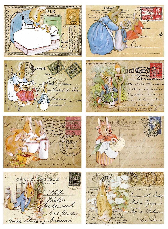 Peter Rabbit Postcards Digital Collage Sheets For By Boxesbybrkr