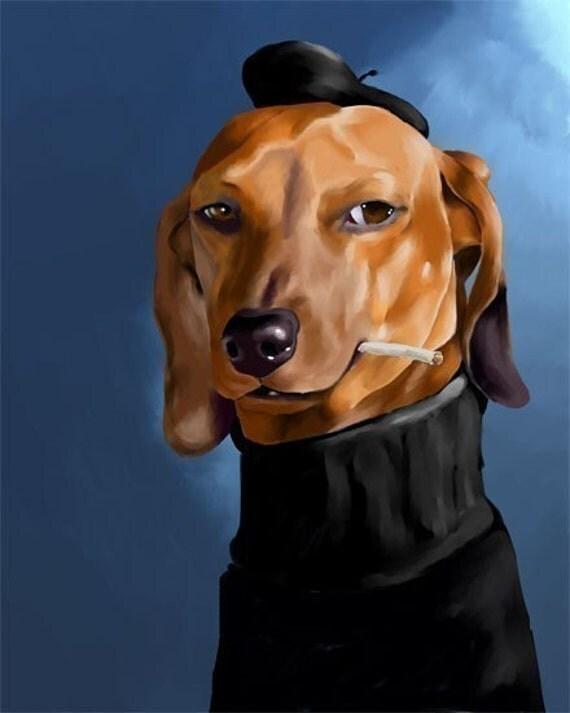 dachshund cool cat art print