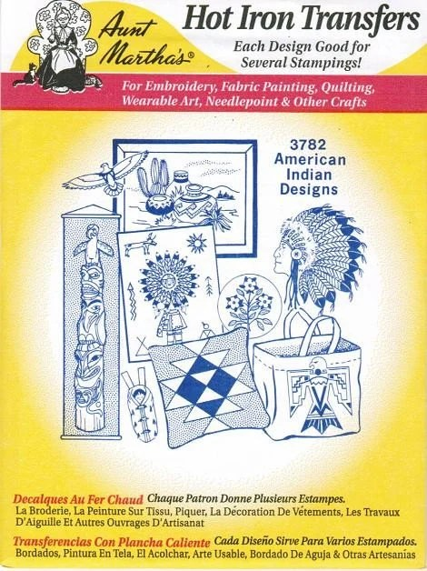 American Indian 3782 Aunt Marthas Embroidery Transfer