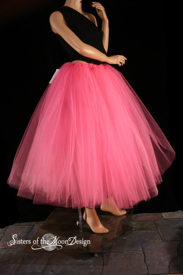 Hot Pink Floor Length Adult Tutu Tulle Skirt Petticoat Two
