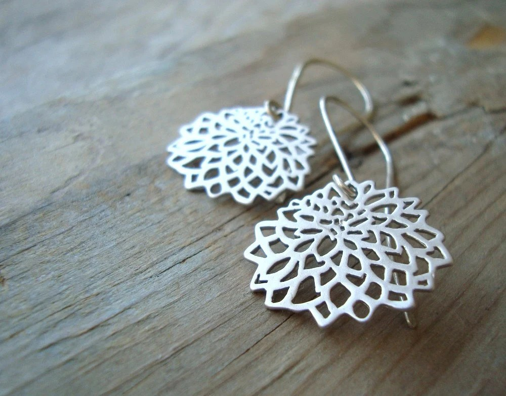 Silver Chrysanthemum Earrings Sterling Metalworked Modern Asian Style READY TO SHIP - FuchsiaBloomStudio