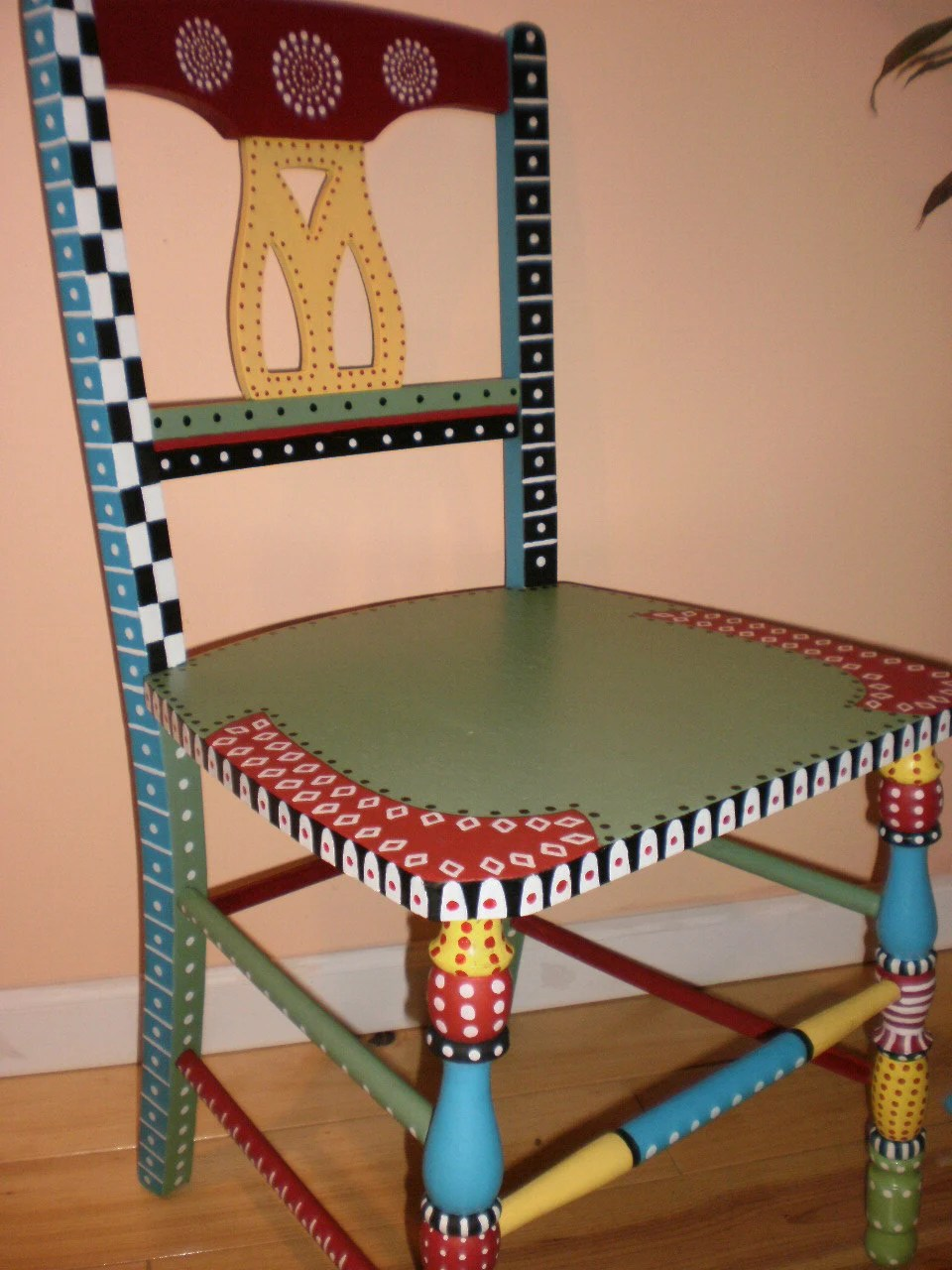 Items similar to Whimsical Hand Painted Folk Art Chair