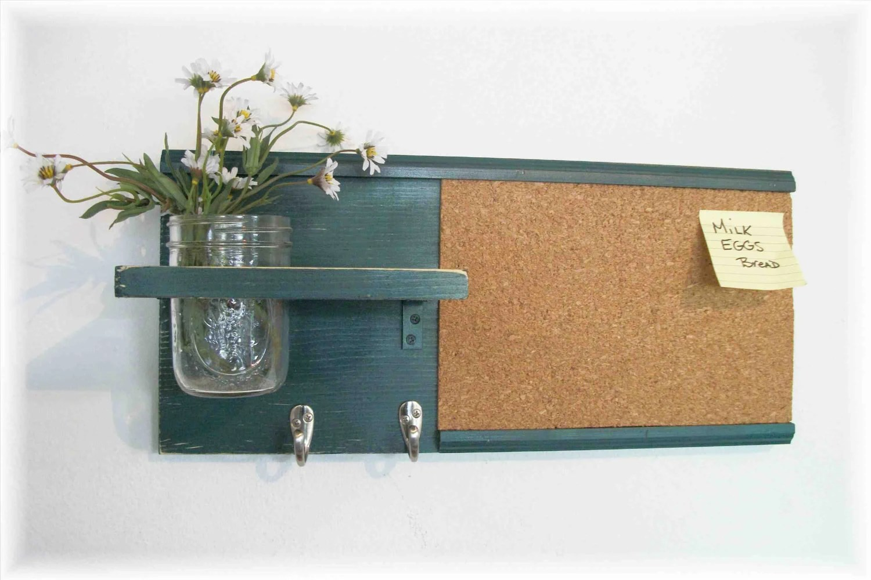 Wood Wall Shelf Cork Bulletin Board Message Center Hooks