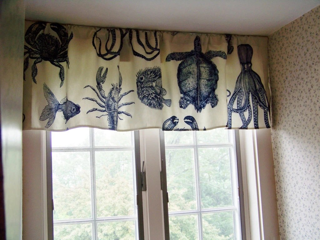 Beach Window Valance Sea Life Octopus Crab Lobster and Turtle