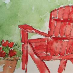 Red Adirondack Chairs 18 Inch Doll Chair Watercolor Painting Aceo