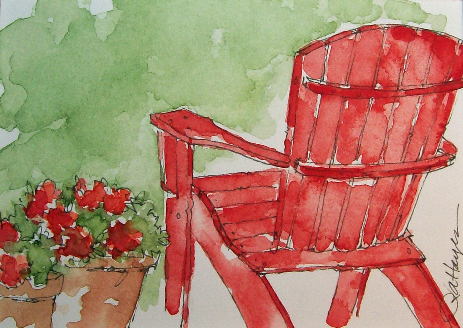 Red Adirondack Chairs Red Adirondack Chair Watercolor Painting Aceo By Roseannhayes