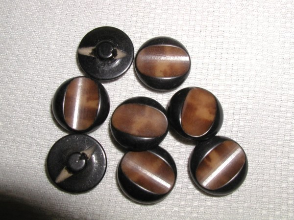 Vintage 8 Vegetable Ivory Buttons With Faux Wood
