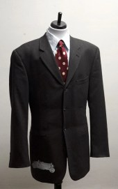 Size 44 Upcycled Vintage Grey Suit with Screen Printed Race Car - BrightWall