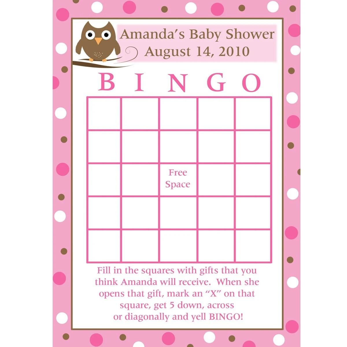24 Personalized Baby Shower Bingo Cards Baby Owl Design