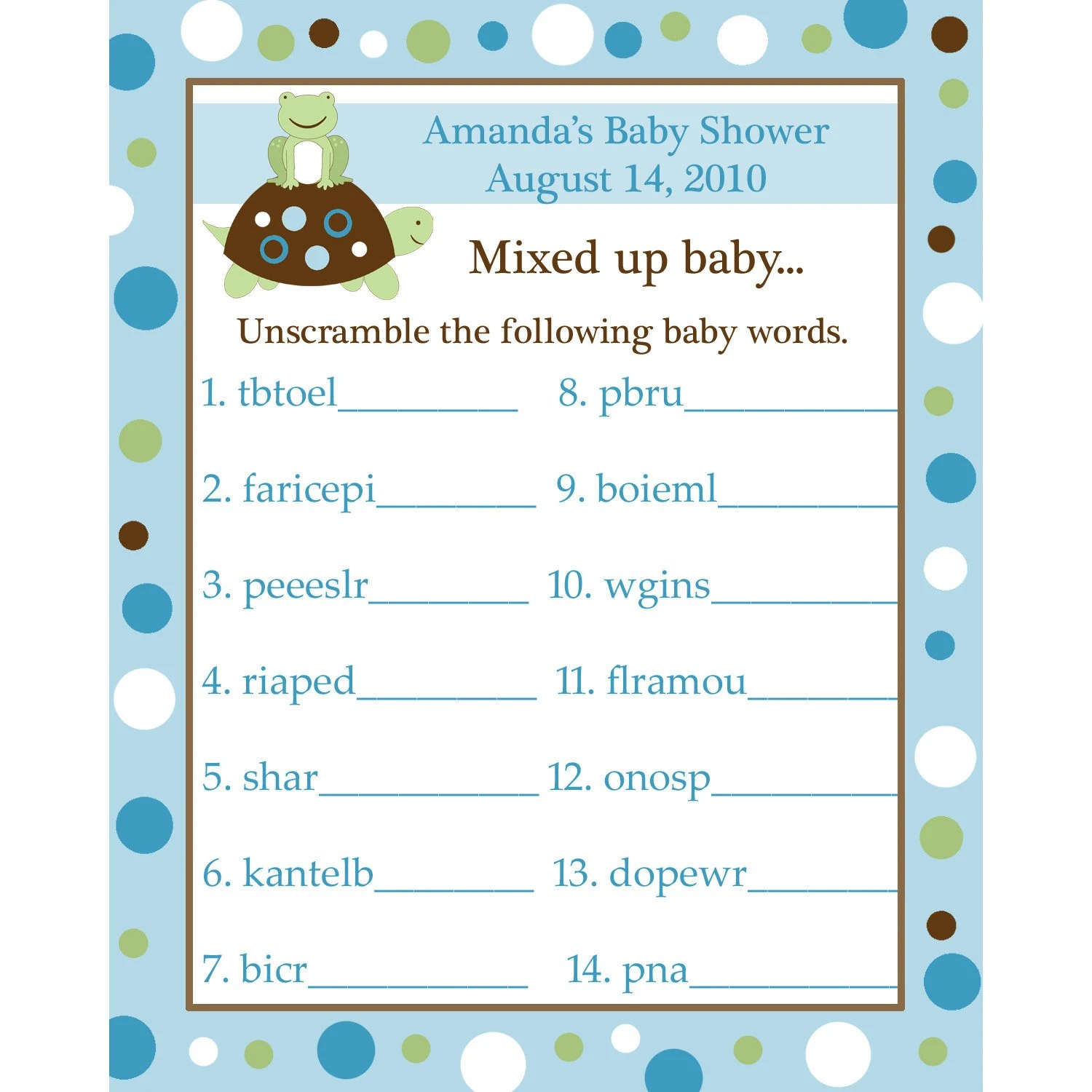 24 Personalized Word Scramble Baby Shower Game Cards Turtle