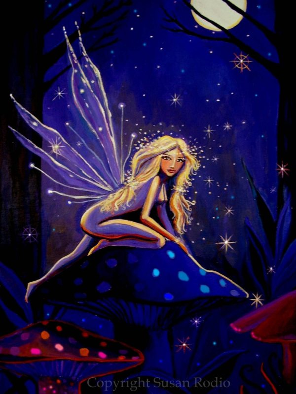 Magical Moonlight Faery Fairy Art Aceo Mini Print