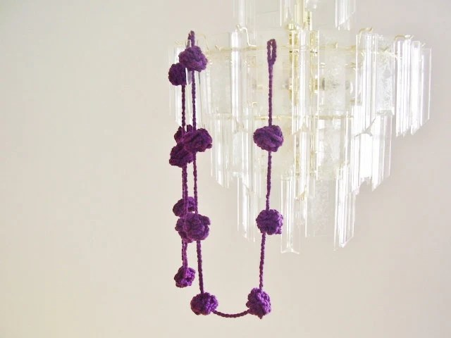 Purple crochet garland, wall hanging, pom-pom bunting, home decoration, violet flower balls - rosemauve