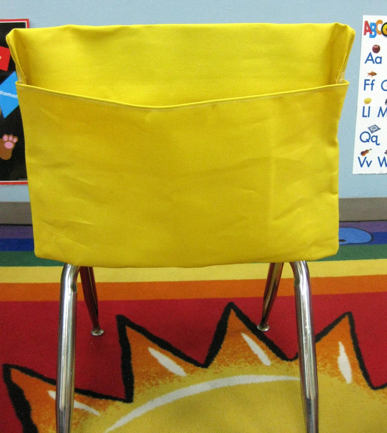Chair Pocket 1 Small Yellow Classroom Chair Pockets Seat Sacks Desk