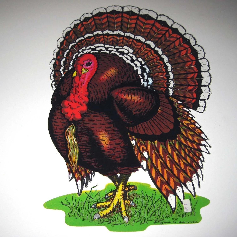 Vintage Large Turkey Cut Cardboard Thanksgiving Decoration