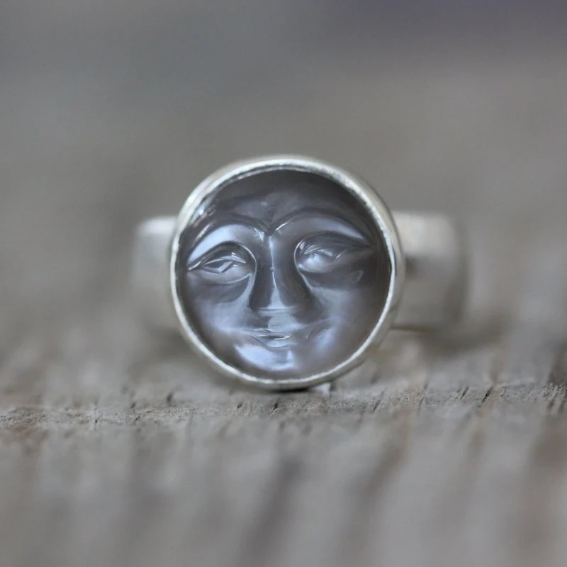 SIZE 8 Quarry Gray Moonstone Ring Smiley Carved By