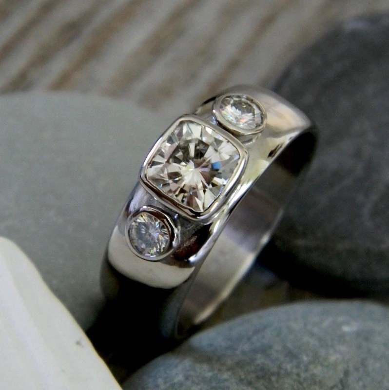 White Gold Moissanite Three Stone Engagement Ring 14k