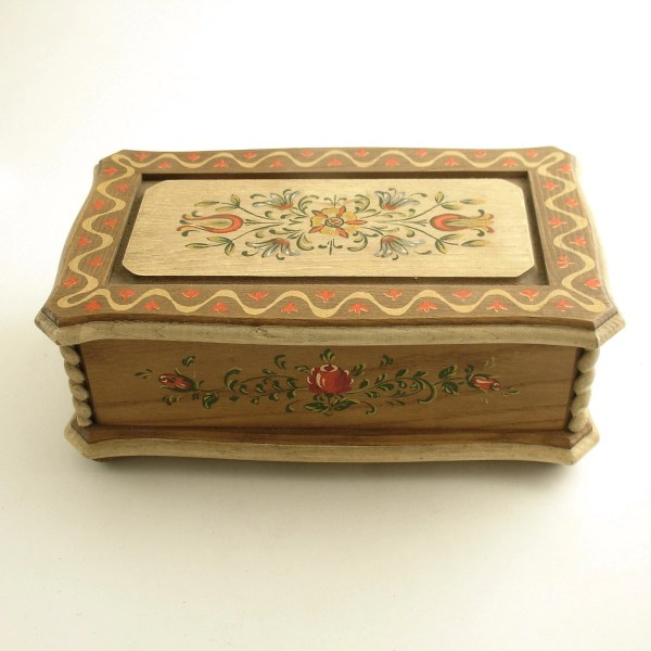 Vintage Music Jewelry Box Tulips Italy Anri
