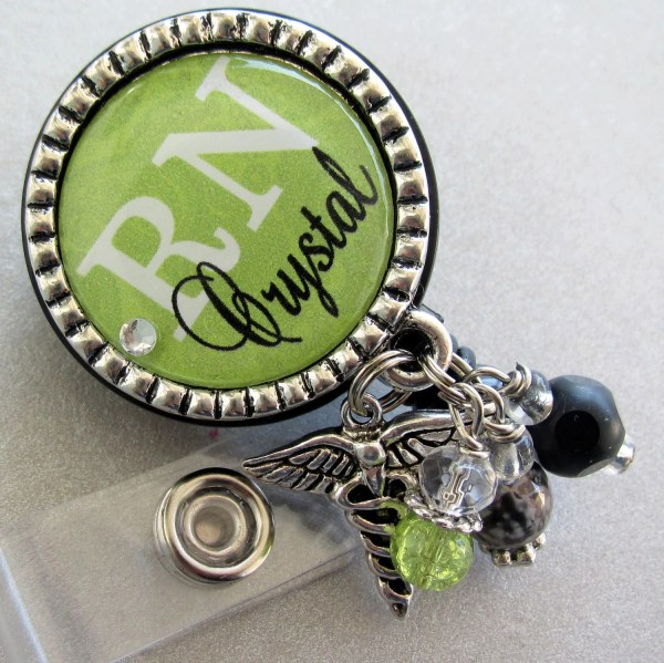 Personalized Id Badge Reel Nurse Silver Pendant Medical