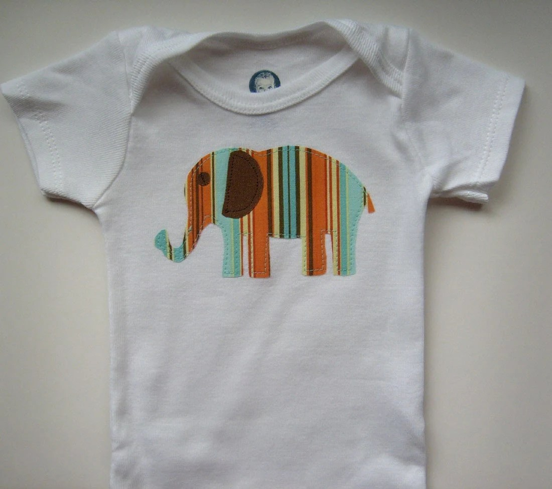 Cute Baby Onesie with Striped Elephant Applique size 69