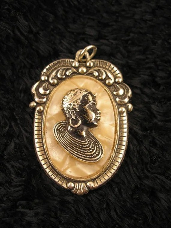 Items similar to 70s African American Woman Cameo Pendant