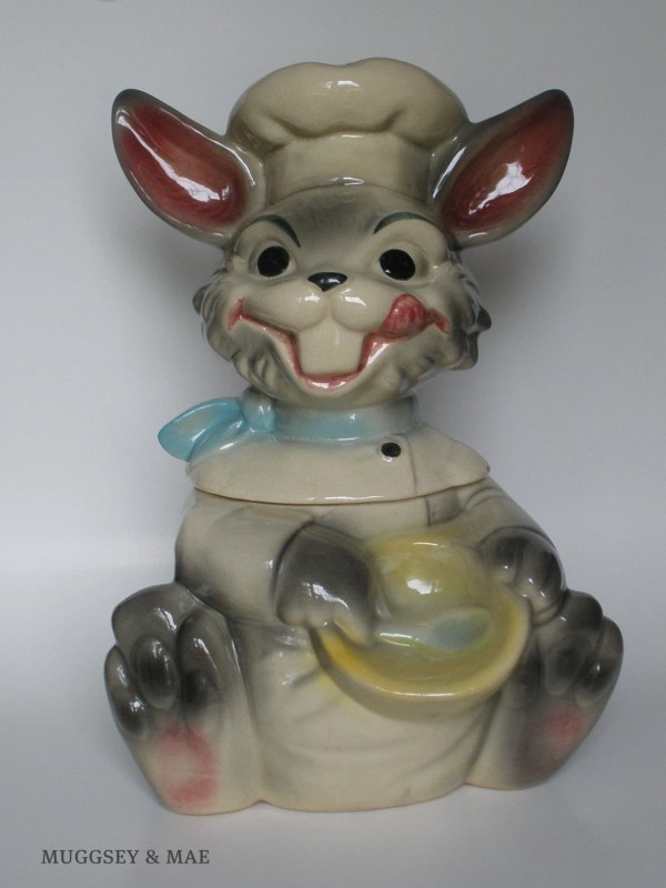 Smiling Chef Gray Bunny Vintage Cookie Jar Brush Pottery