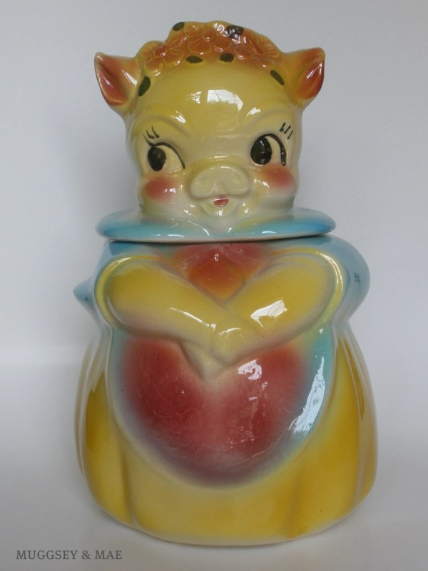 American Bisque Vintage Cookie Jar Girl Pig With Pink