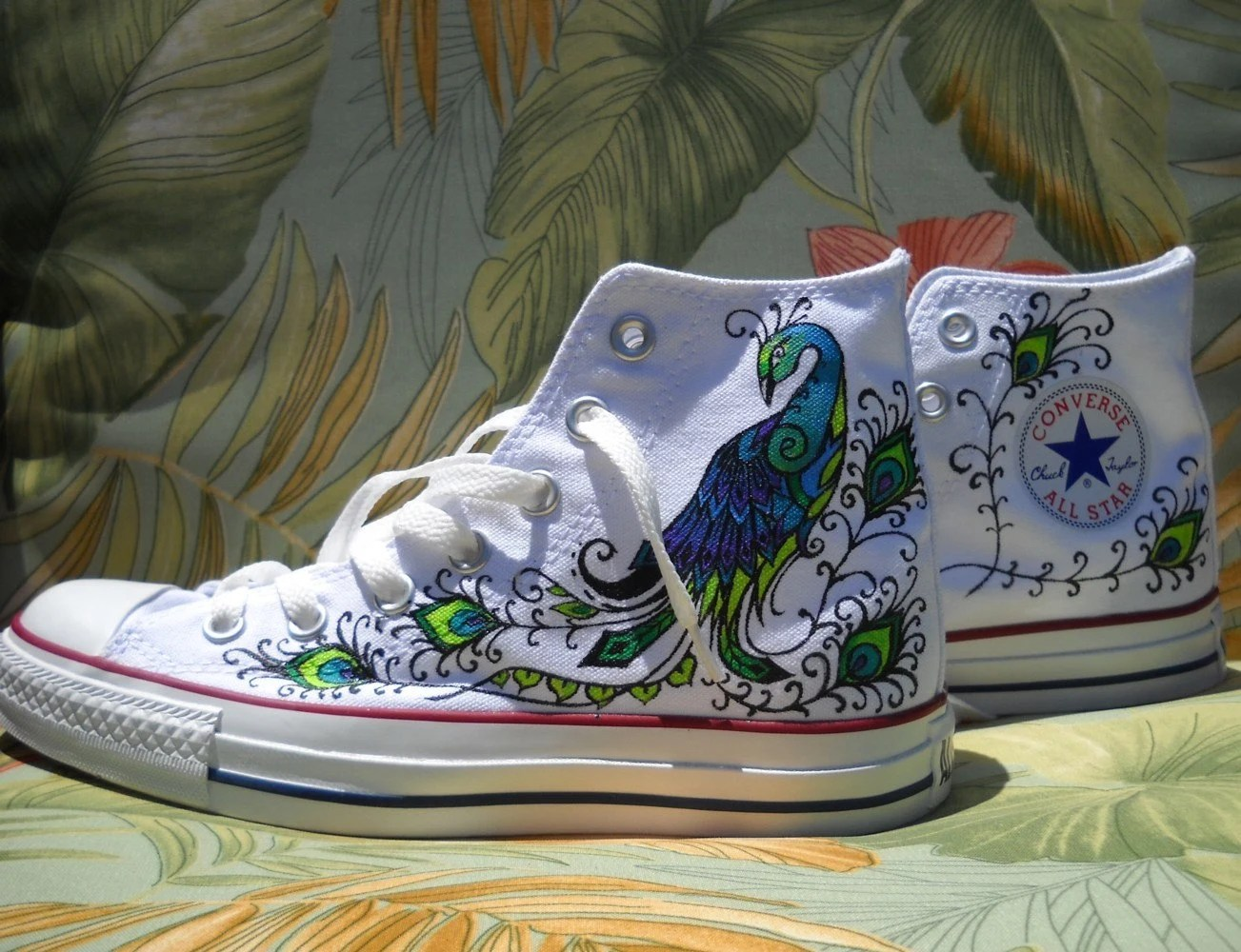 Wedding Shoes Hand Painted Converse for Rena