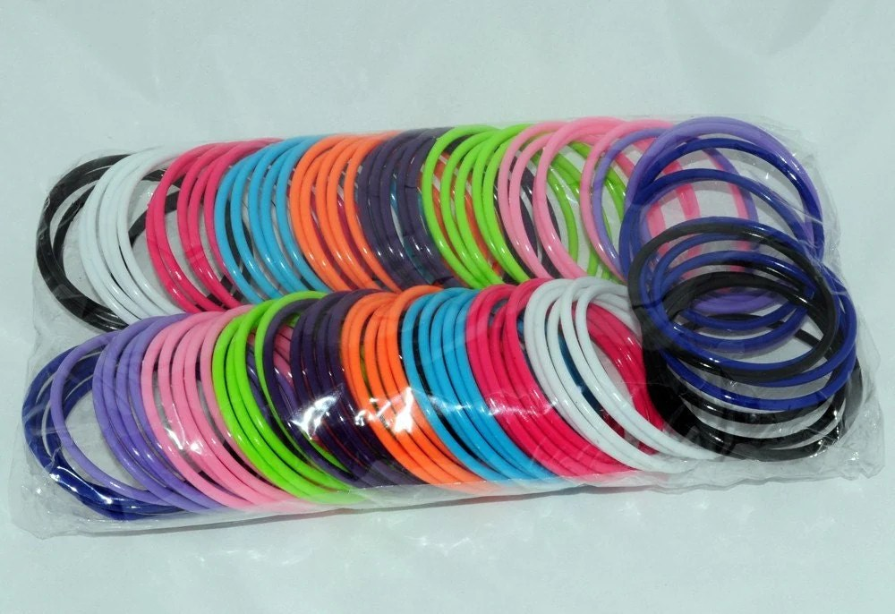 100 Multi Colored Plastic Bangle Bracelets