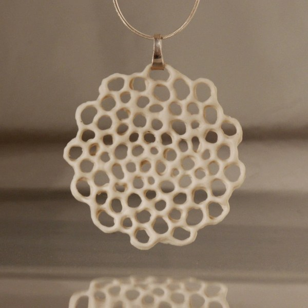 porcelain and silver necklace Made to order Hanako floral