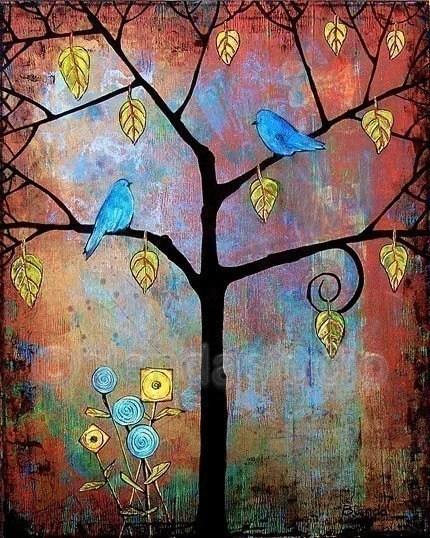 Art Tree Print Birds 8X10 Feathered Friends