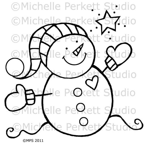 Items similar to Digital Stamp Image Snowman Baby Mittens