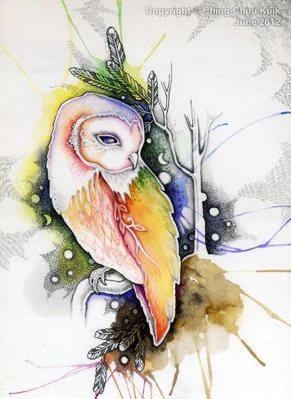 Cute Owl Wallpaper Border A Barn Owl Original Art Watercolor Illustration