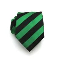 Mens Tie Kelly Green and Black Stripe Silk Necktie