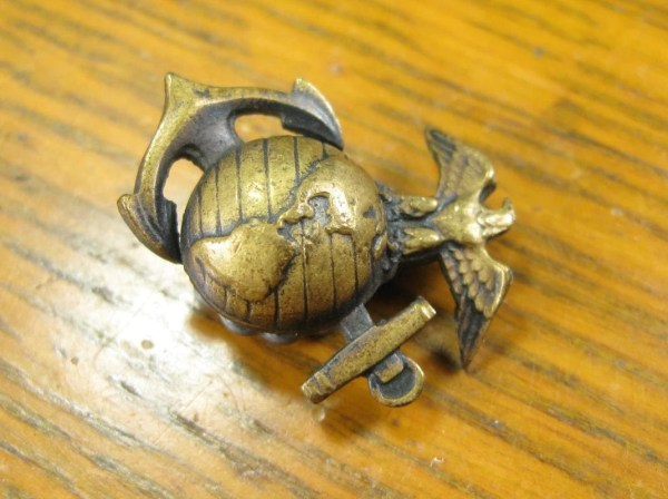 Vintage 40s Brass Eagle Globe Anchor Usmc Pin Jewelry