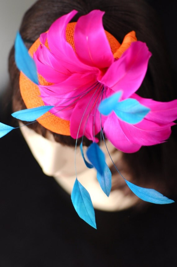 Orange and PInk Feather Flower Cocktail Hat Mini Hat Fascinator - LiDDesignsBoutique