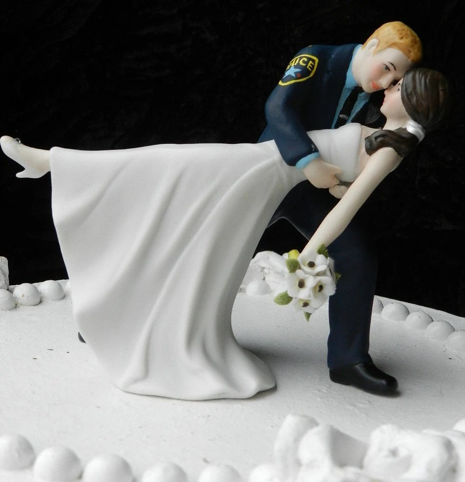 Police Officer cop groom uniform Wedding Cake Topper Dance