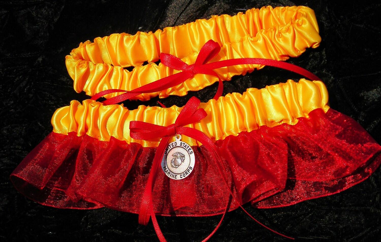 Military USMC Marine Corps Wedding Bridal Garter By