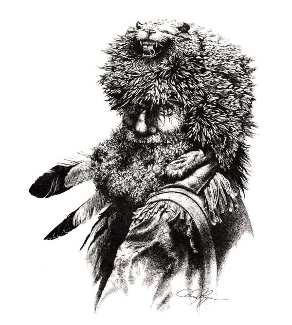 Mountain Man Pen And Ink Drawing Art Print Signed Artist Dj