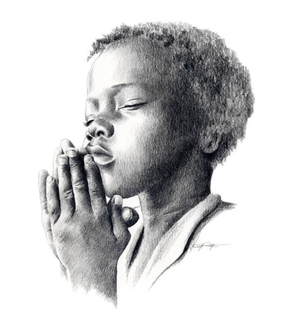 Praying Child Pencil Drawing Art Print Signed Artist Dj