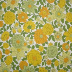 Orange Kitchen Wallpaper Sink Drain Assembly Vintage Yellow And Green Floral Per Yard