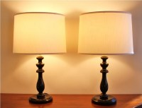 Pair of turned wood table lamps by highstreetmarket on Etsy