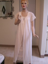 Vintage Peignoir Set White Cotton Night Gown with Matching