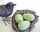 Small Painted Nest Eggs, Pale Green Nest Eggs, green nest eggs, speckled nest eggs, spotted nest eggs - CatnipStudioToo